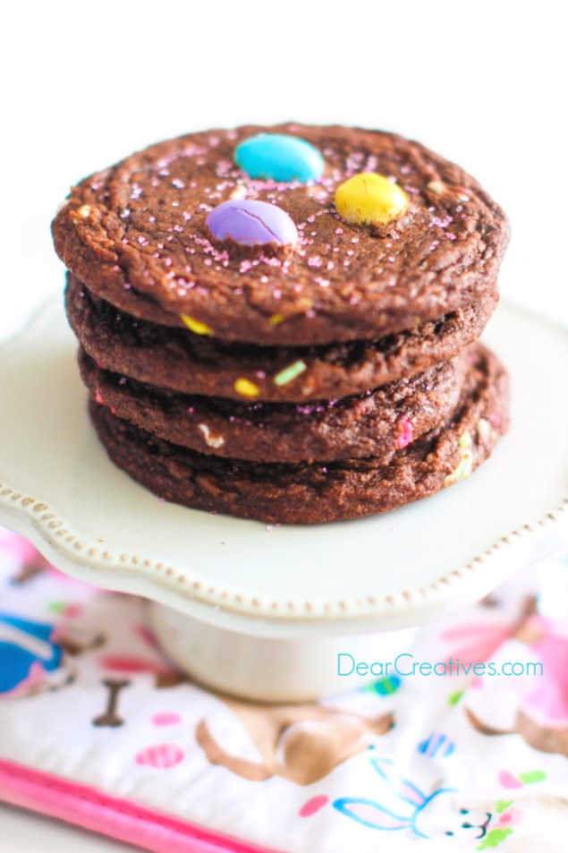 Brownie Cookies with pastel peanut M & M's. This is an easy recipe to make that any chocolate lover would enjoy. DearCreatives.com #browniemixcookies #browniecookies #easter #eastercookies #chocolatecookies