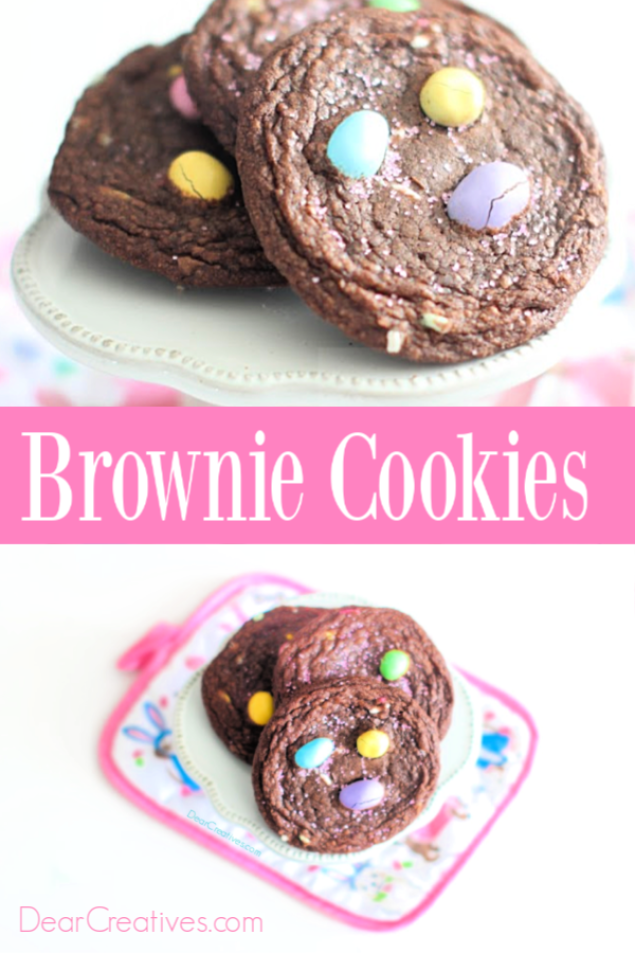 Brownie Cookies - Try this easy to make brownie mix cookie recipe. They are perfect for spring celebrations or Easter Brownie Cookies. DearCreatives.com #browniecookies #Easterbrowniecookies #cookierecipes #eastercookies #recipes #dearcreatives