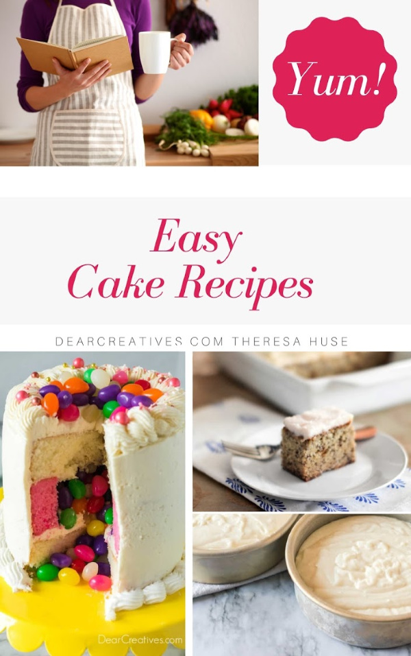 We love Easy Cake Recipes. Do you? Cake recipes from scratch. But, occasionally we love a good hack and make box cake mix recipes. DearCreatives.com #easycakerecipes #cakerecipes #cakemixboxrecipes #bundtcakes #coffeecakes #sheetcakes #jellybeancakes #cakes #bakingrecipes