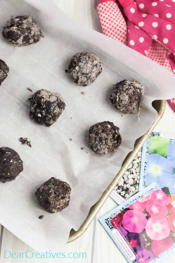 A tray of Seed Bombs drying - See tutorial at DearCreatives.com