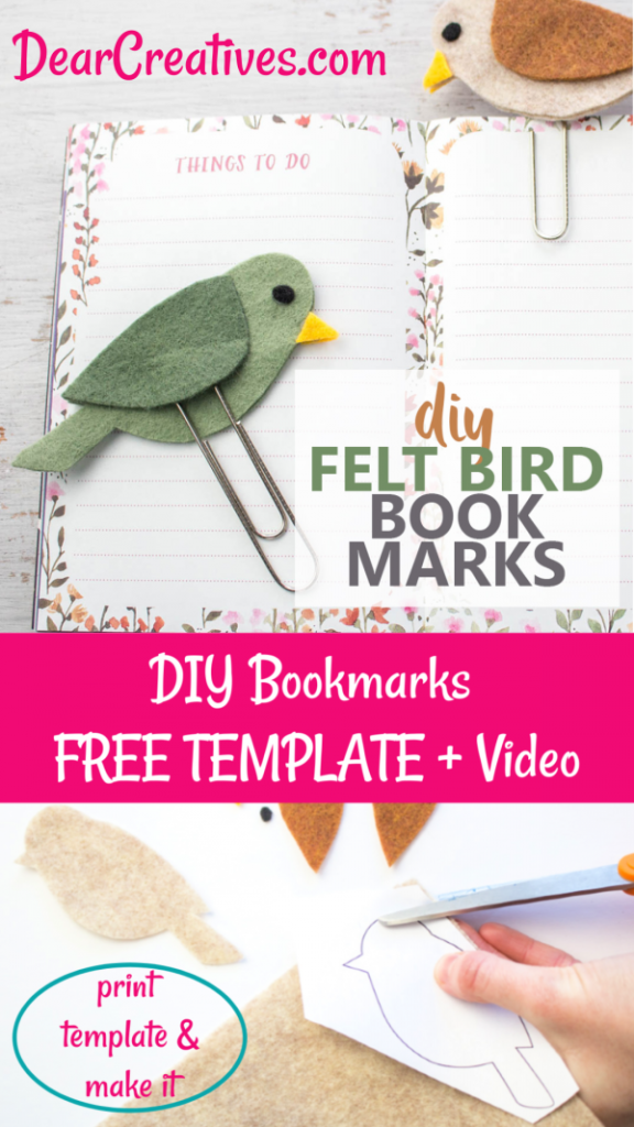 DIY Bookmarks- Free Template + Video Instructions and step by step how to. DIY Bookmarks- Make a felt bird paperclip bookmark. This is an easy felt craft that would make a great gift for any book lover, teacher, mom, dad or grandparent. Summer bookmark for kids. DearCreatives.com #diybookmarks #feltcrafts #bookmark #crafts #dearcreatives