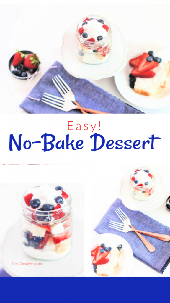 Patriotic Dessert - Easy no-bake dessert perfect anytime you are looking for a red, white and blue dessert. Summer, Memorial Day, 4th of July or other themed celebrations...