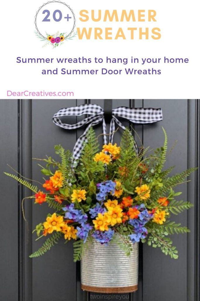 Summer Wreaths to hang in your home and summer door wreaths. This is an awesome list of way over 20 summer wreaths! You are sure to love one for decorating your home! DearCreatives.com