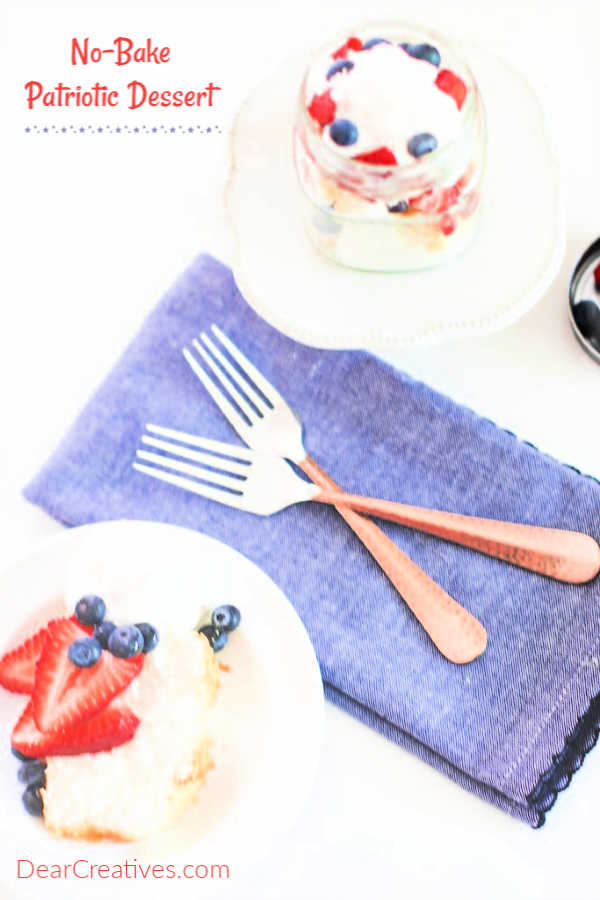 no bake Patriotic dessert served in mini mason jars or on a plate. DearCreatives.com