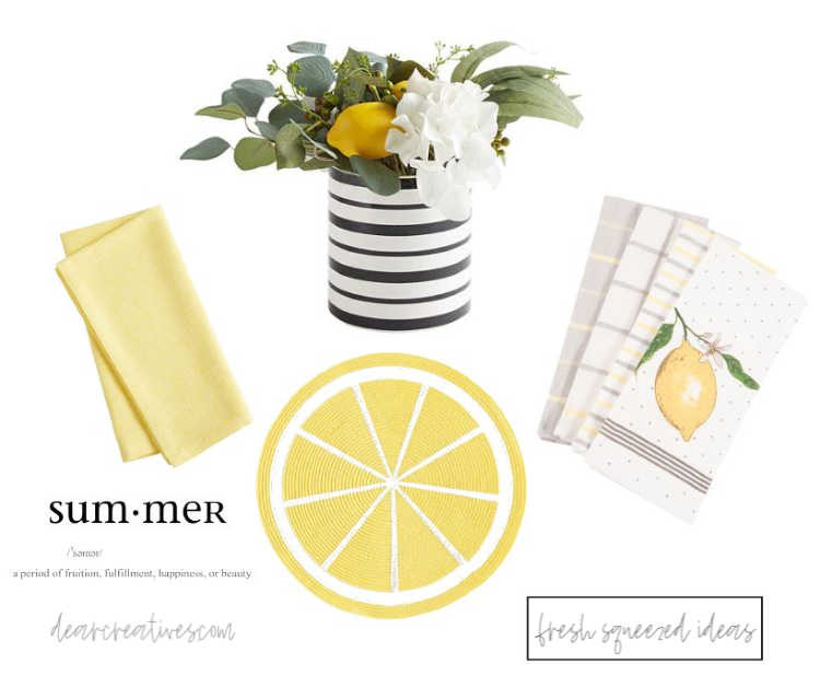 summer decorating ideas with lemons- DearCreatives.com #summer #summery #decorating #homedecorating #homedecor