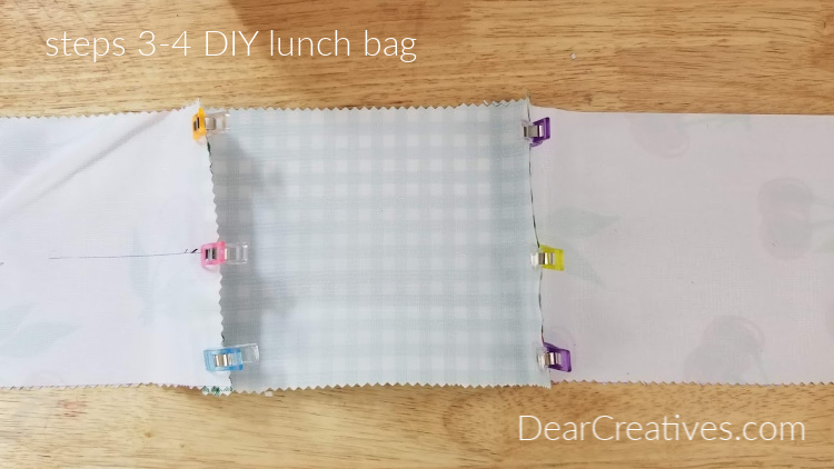 Oilcloth Lunch Bags Steps 3-4 Grab all the instructions for how to make a fabric lunch bag at DearCreatives.com
