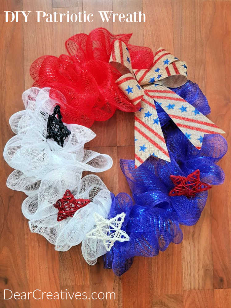 Patriotic Wreath - See how to make this quick, easy and fun to make wreath. Use it for patriotic holidays or as a summer wreath. DearCreatives.com