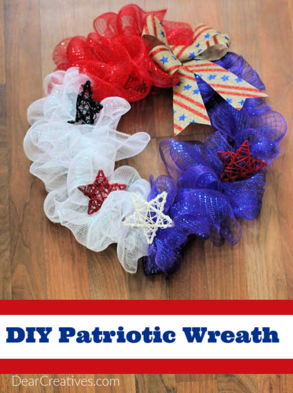 Patriotic Wreath - how to make a red, white and blue wreath. Easy! Budget-friendly and fun to make. DearCreatives.com