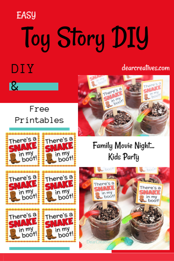 There's A Snake In My Boot Printable and treat recipe DIY -Toy Story Idea - Pudding Cups for Kids with Free Toy Story Printable. Use for Toy Story Party ideas, cowboy themed parties or family movie night. Grab free printable and DIY DearCreatives.com