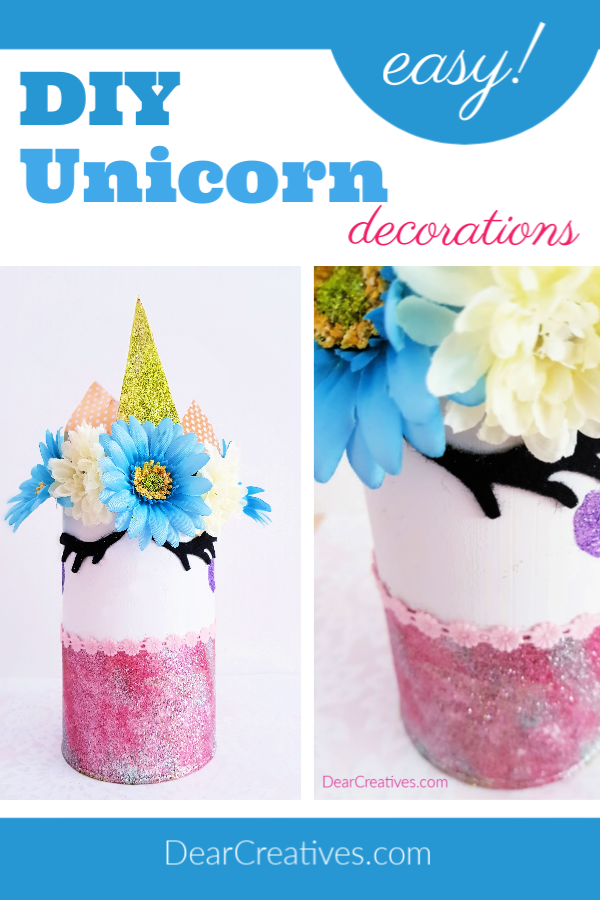 Unicorn Decoration for a bedroom - Make this unicorn idea. The unicorn craft comes with step by step instructions with images and is easy to make! Save it Now Or See it! DearCreatives.com #unicorndecoration #unicorn #diy #crafts