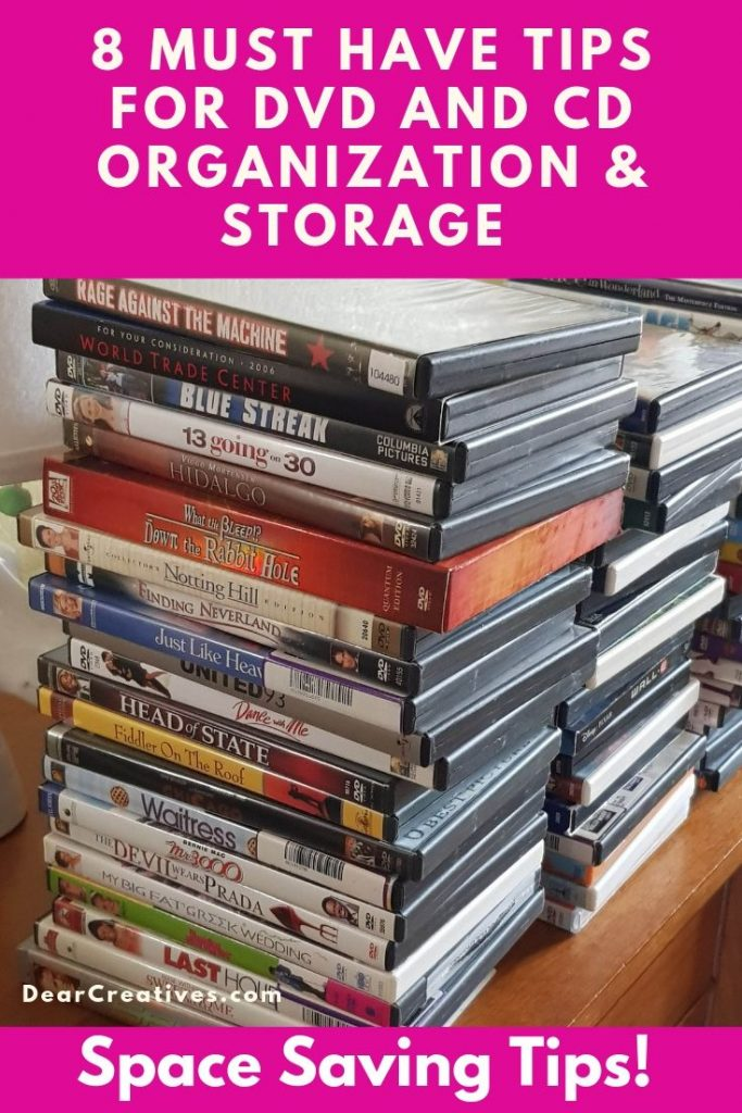 8 Tips for DVD and Cd organization and Storage - Neat, space saving! You will love how easy it is to do. Tidy up your space, organize your favorite movies and music. Grab these home organization ideas. DearCreatives.com