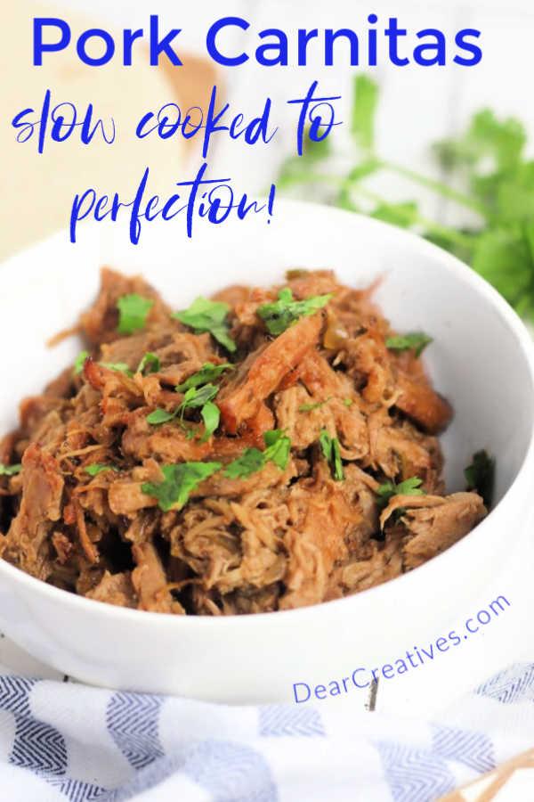 Crockpot Pork Carnitas - This is an quick prep easy pork carnitas recipe. Use for tacos, enchiladas, nachos...DearCreatives.com