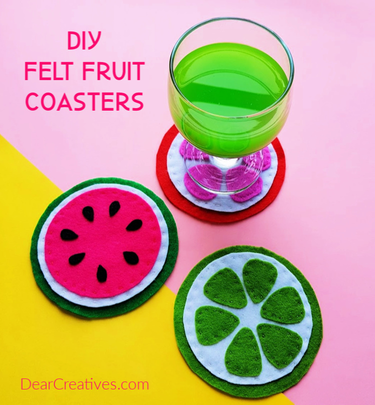 DIY Coasters - Felt Fruit Coasters, lime, citrus, watermelon. This easy felt craft project comes with a free template and step by step instructions. DearCreatives.com