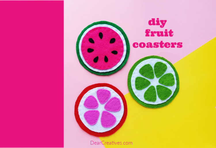 DIY Coasters – Felt Fruit Coasters +Template