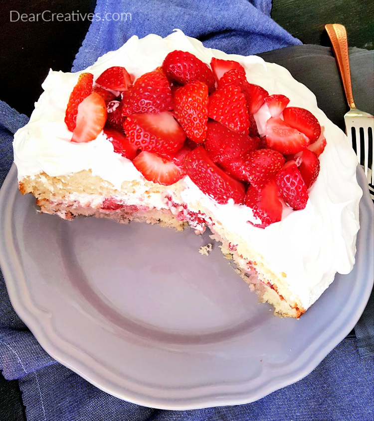Strawberry Cake - two layer cake with strawberries and whip cream. DearCeatives.com