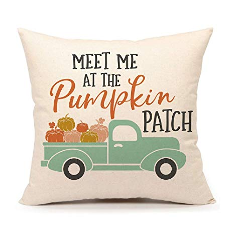 Fall Pumpkin Truck Throw Pillow Cover Autumn
