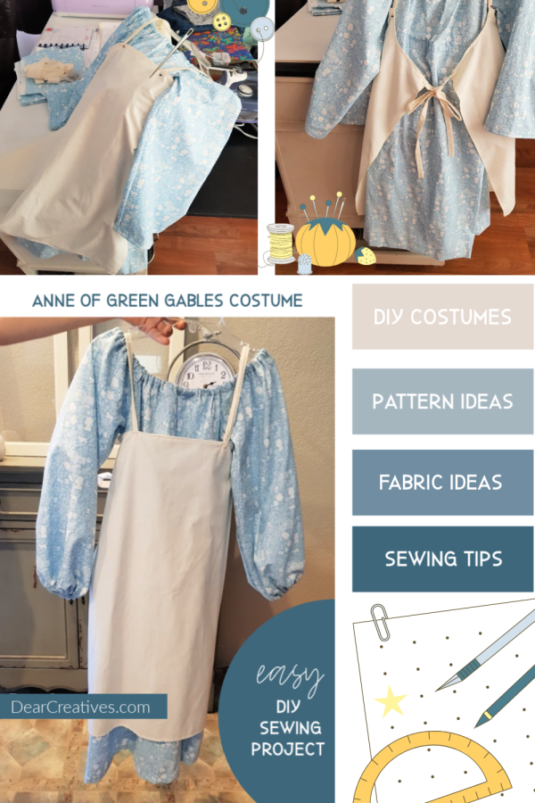Anne of Green Gables Costume - Easy Halloween costume based off the book. See how to, pattern and tips for making your own costumes. #anneofgreengables #costumeideas #halloweencostume #diy #sewing #dearcreatives