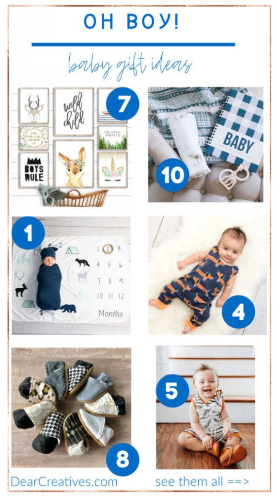Baby Boy Gift Ideas - some of the designs are available in baby girls. See the list full list at DearCreatives.com #babyboygifts #babyshowergifts #baby #gift #ideas