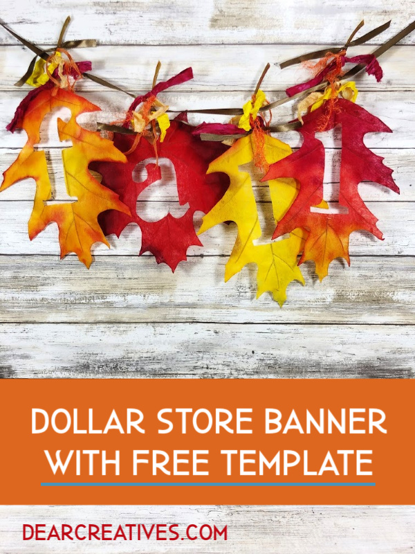Fall Banner - How to make a simple fall banner. DearCreatives.com #fallbanner #diy #simple #easy #fall #crafts #howto #makeabanner