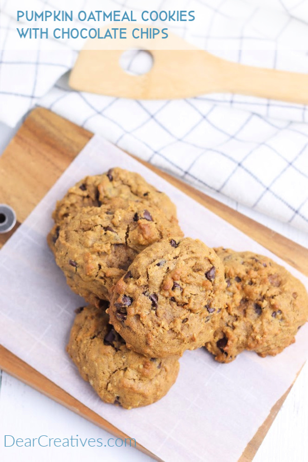 Pumpkin Oatmeal Cookies - gluten free grab this cookies recipe and make it or variations of the recipe. On this day we added chocolate chips to our pumpkin oatmeal cookies. They are so good!