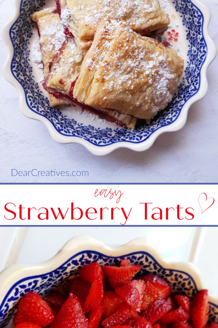 These strawberry tarts are so easy to make. Enjoy them anytime for breakfast, brunch or even as a dessert. Made with puff pastry, strawberry jam and sprinkled with confectioner's sugar. Serve with coffee or tea. #strawberrytarts #tarts #strawberries #strawberryrecipes #baking #easy #breakfast #brunch #dessert #tartrecipes