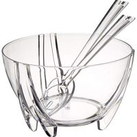 Prodyne SS-PD-SB-3-C Acrylic Salad Bowl with Servers, Clear