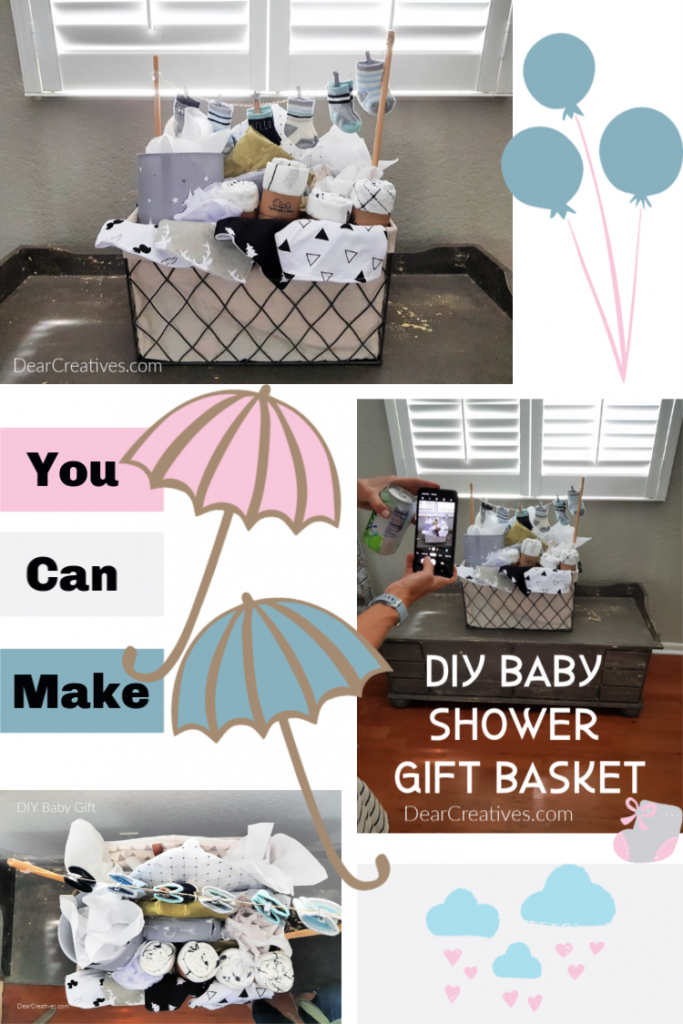 DIY Baby Gift Basket - Such cute ideas for making a baby shower gift. Easy to make in small, medium and large size. Perfect for gifting to the mom to be! Or new parents.With so many cute gift ideas to add to the gift basket! DearCreatives.com