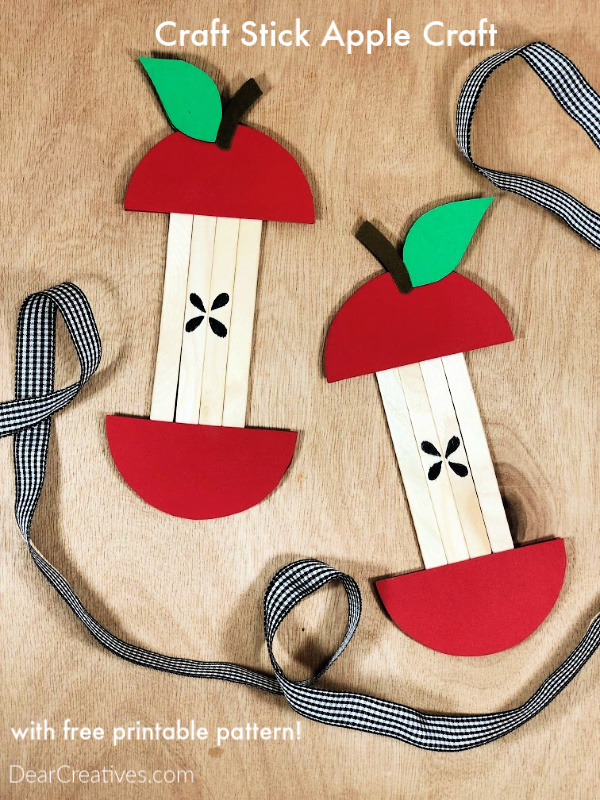 Fun kids craft , apple craft idea with free printable and instructions how to make an craft stick apple - DearCreatives.com