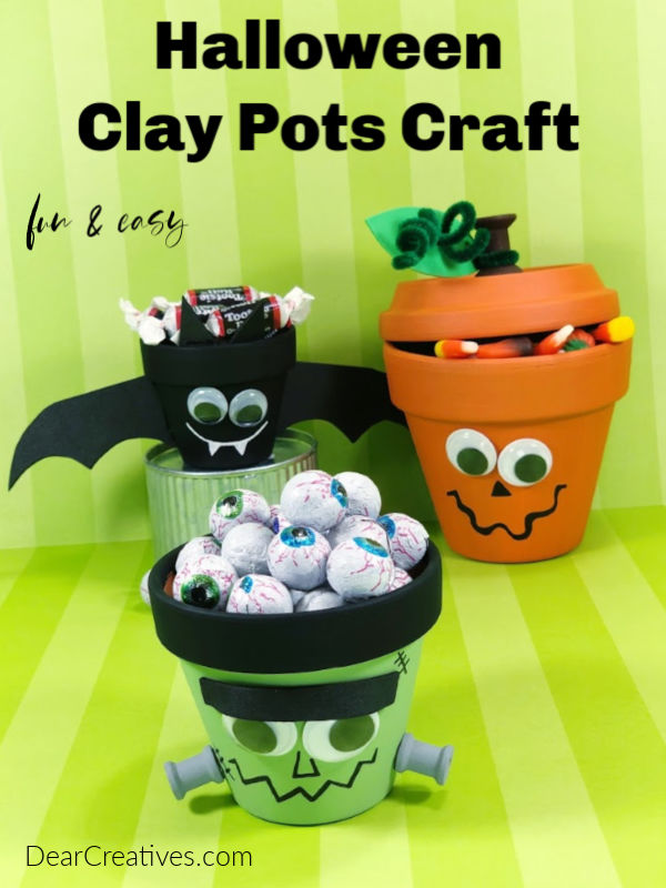 Halloween Clay Pots DIY Jack-O-Lantern, Frankenstein, Bat