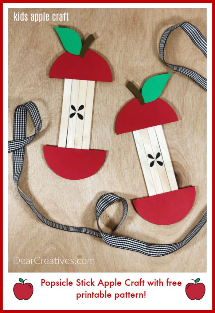 Popsicle Apple Craft for Kids - with free printable apple pattern and step by step instructions at DearCreatives.com