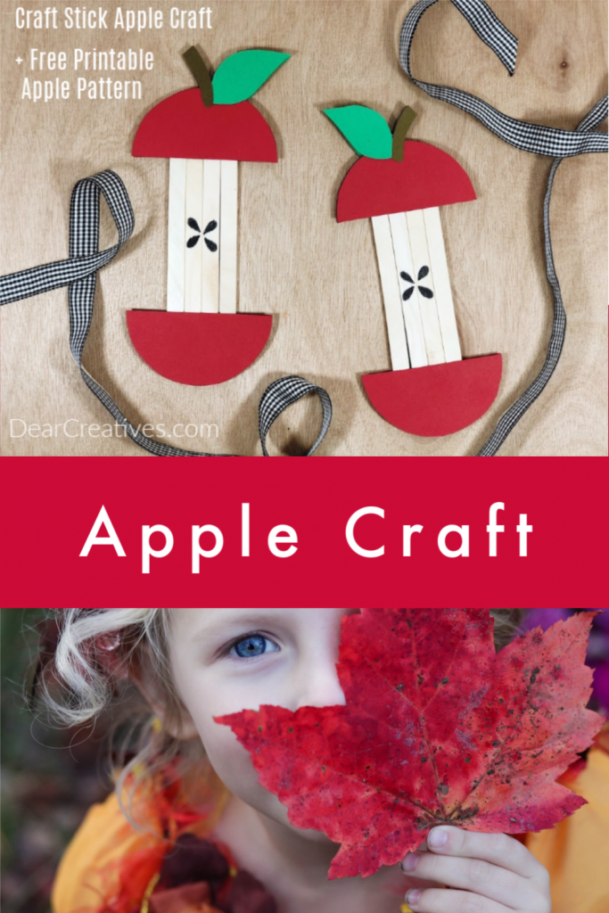 Popsicle Stick Apple Craft - Can be made by you or the kids. Use the free printable apple template and easy to follow instructions. DearCreatives.com #popsiclestick #craftstick #applecraft #craftsforkids #crafts #kids