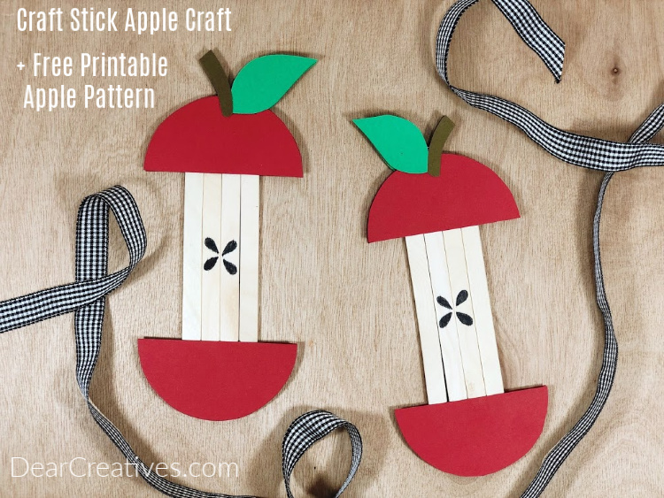 Popsicle Stick Apple Craft + Free Printable Apple Pattern