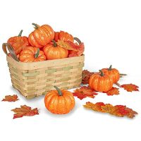 Artificial Pumpkins for Decoration, 12PCS Mini Fake Pumpkins with 30PCS Lifelike Maple Leaves