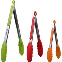 Cooking Tongs, Set of 3-7,9,12 inches, Heavy Duty, Stainless Steel Bbq and Kitchen Tongs with Silicone Tips (Can Also Be Used as Ice Tongs and Sugar Tongs) (Multi)