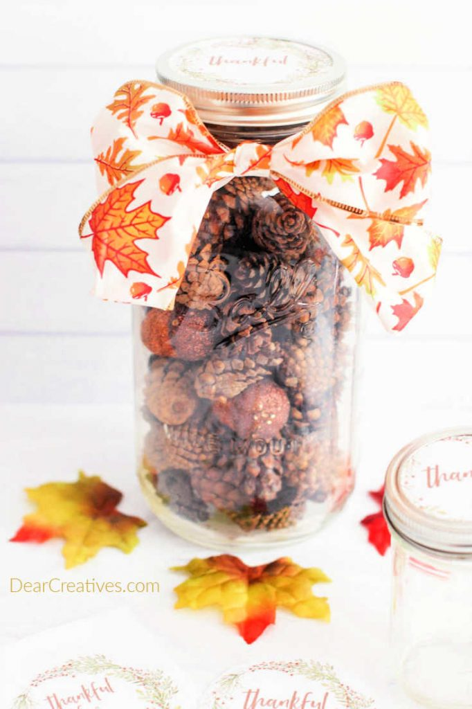 Are you looking for Mason Jar Crafts_ - Make this Gift in a Mason Jar with Fall Printable Label it makes a great gift in a jar...© DearCreatives.com Theresa Huse