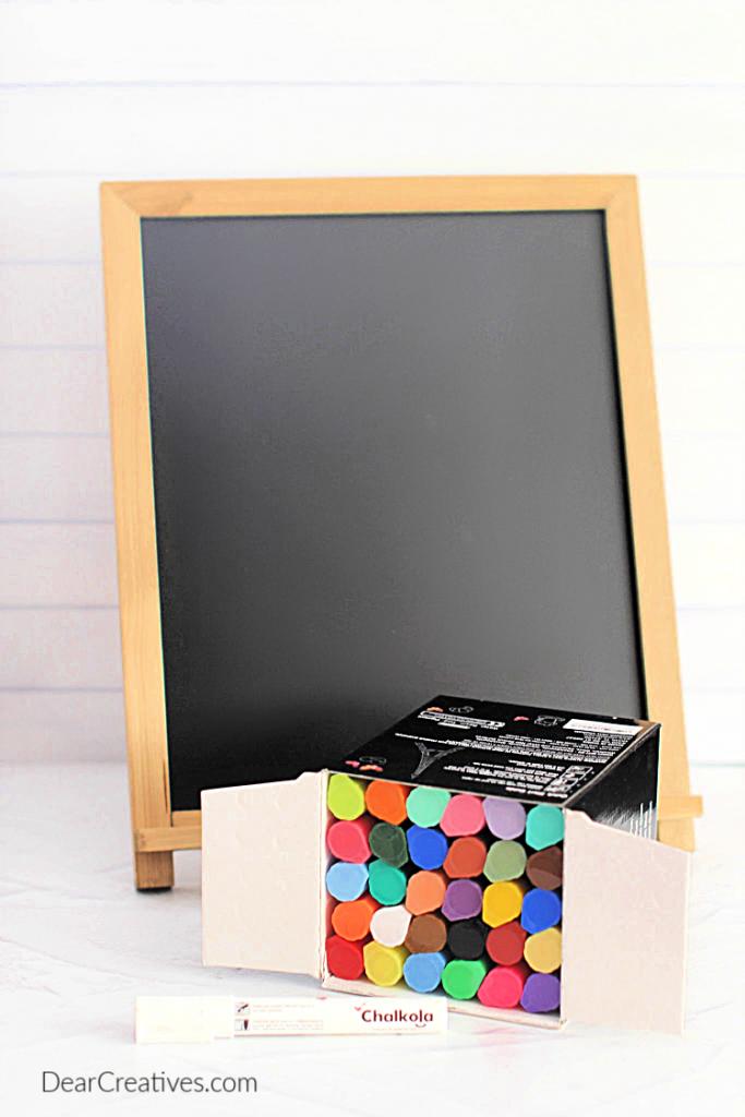 Chalkboard Art Supplies - chalkboard, chalkpens, rag, Q-Tip, water how to make chalkboard art at DearCreatives.com