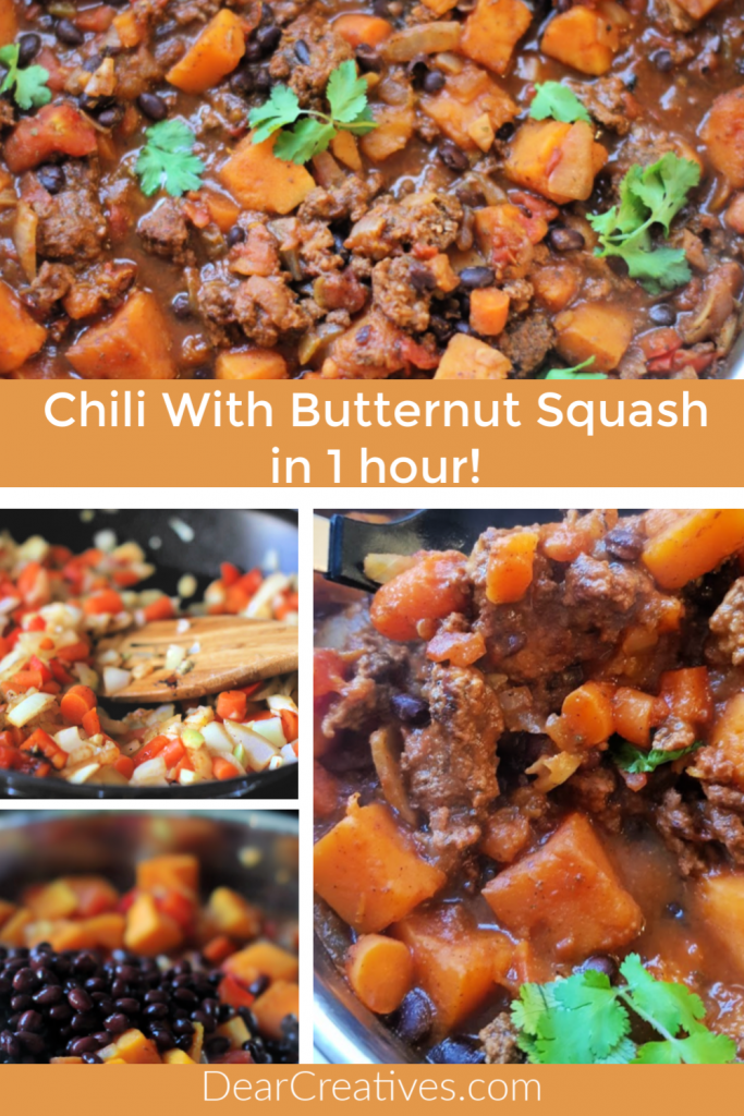 Chili With Butternut Squash - A tasty chili with classic flavors but, with the addition of butternut squash and black beans. Ready to eat in 1 hour and easy to make! Omit meat and it can be vegetarian. DearCreatives.com