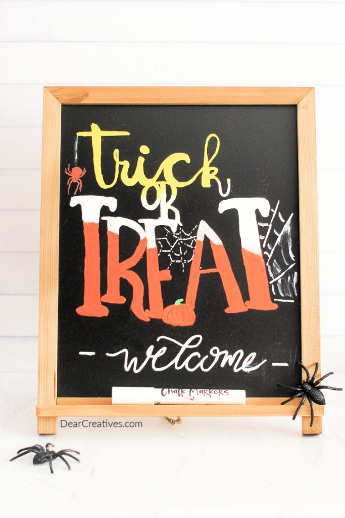 Halloween Chalkboard Art - Trick or Treat Chalkboard Art Sign - See this and other chalkboard art ideas at DearCreatives.com