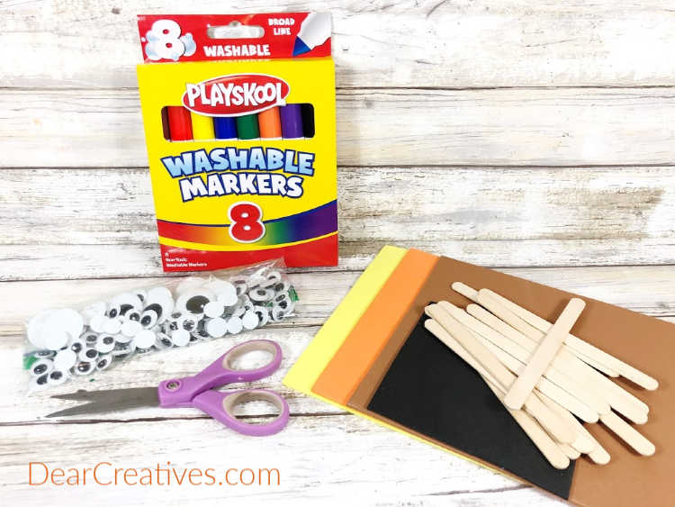 Craft Supplies for making craft stick characters and fall crafts for kids. See the full list of materials and instructions to make craft stick characters on DearCreatives.com