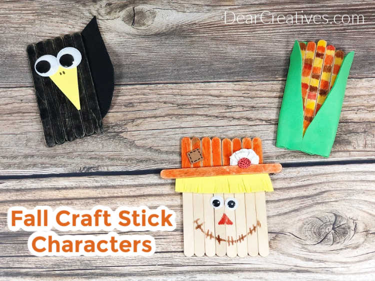 Fall Craft Stick Characters - Scarecrow, crow and harvest corn. Grab the instructions for these easy Popsicle stick crafts. DearCreatives.com