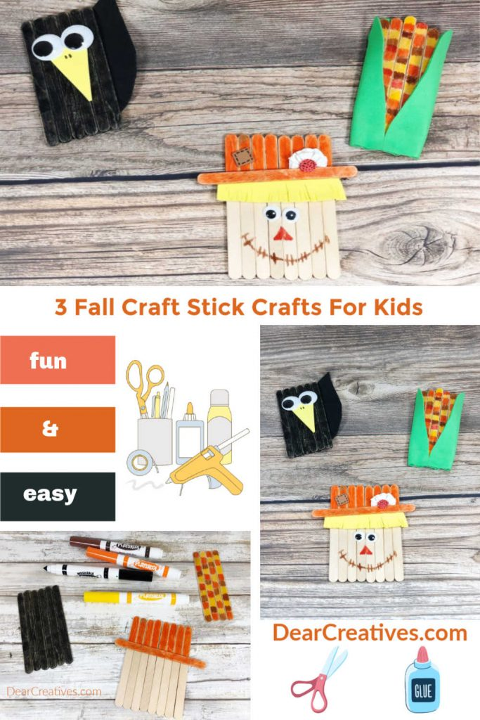 Fall Craft Stick Characters - how to make a Popsicle scarecrow, crow and harvest corn.Fall Kids Crafts made with craft sticks. DearCreatives.com