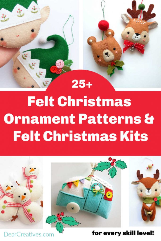 Felt Christmas Ornament Patterns! Quick and easy Christmas ornament patterns and kits you can make. PDF patterns for every skill level! They are so cute! I want to make them all! DearCreatives.com