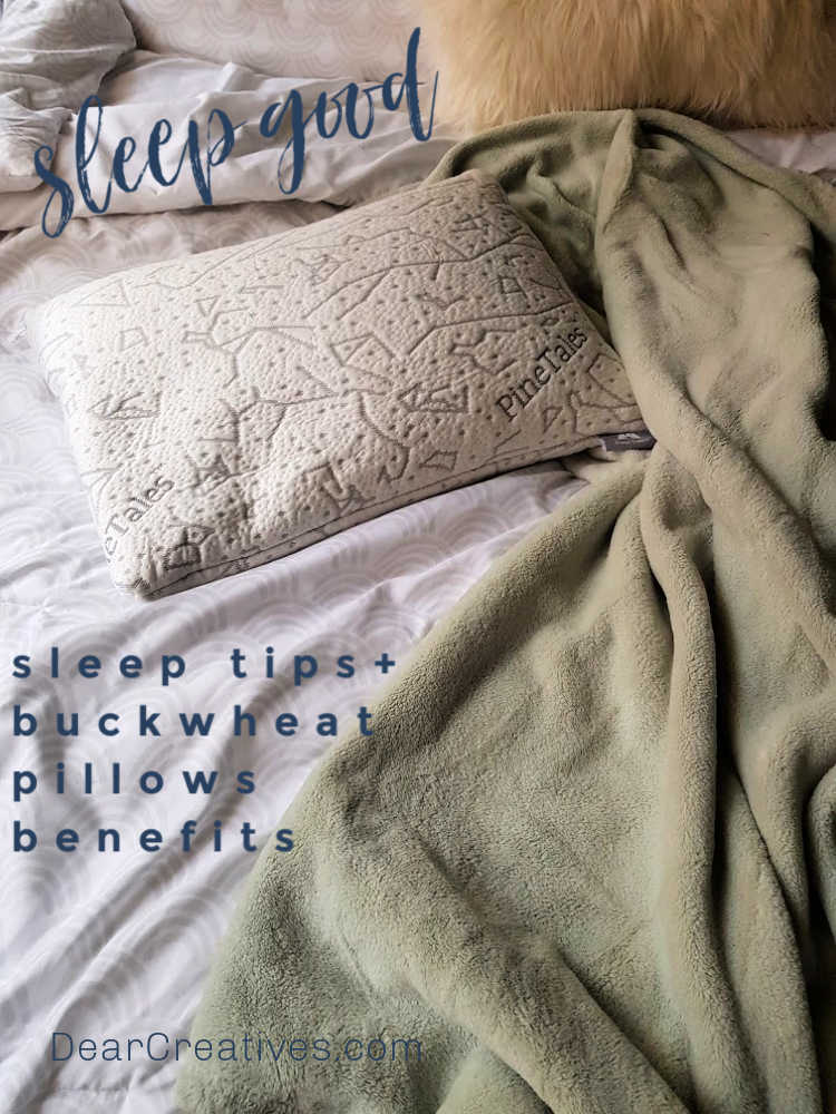 Sleep Tips + Benefits and where to buy buckwheat pillows - Buckwheat Pillow Review pinetales buckwheat pillow on a bed - DearCreatives.com