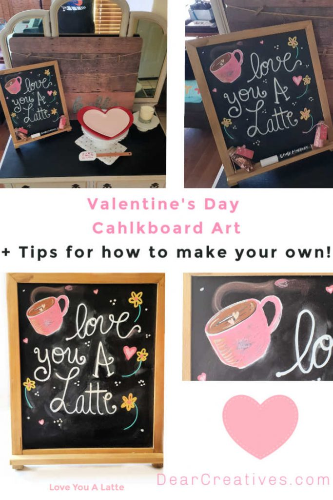 Valentine's Day Chalkboard Art - chalkboard tips and how to get started making your own chalkboard art. DearCreatives.com