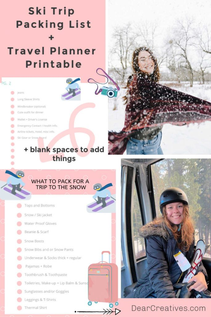 Ski Trip Packing List- Travel Planner Printable - Plus Snow Outfits and What to Wear - DearCreatives.com