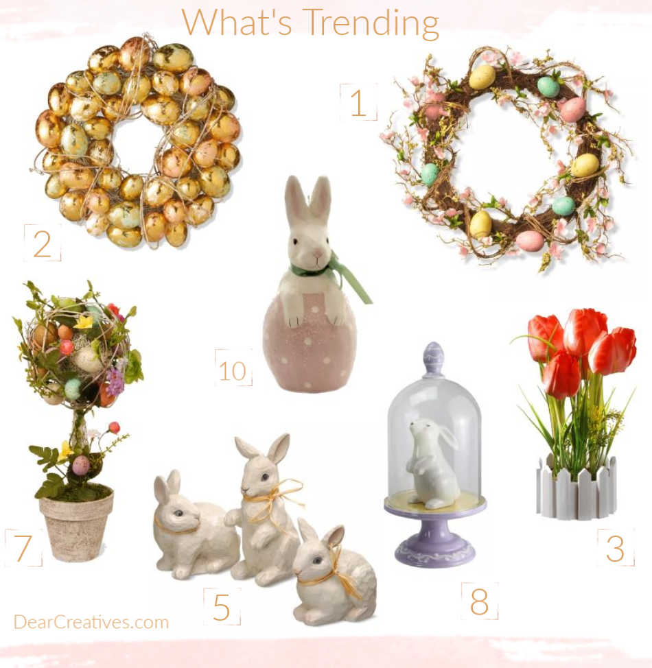 Spring Decor and Easter Decorations -This list of ideas will help you decorate your home for spring and Easter. See what's trending in home decor.DearCreatives.com