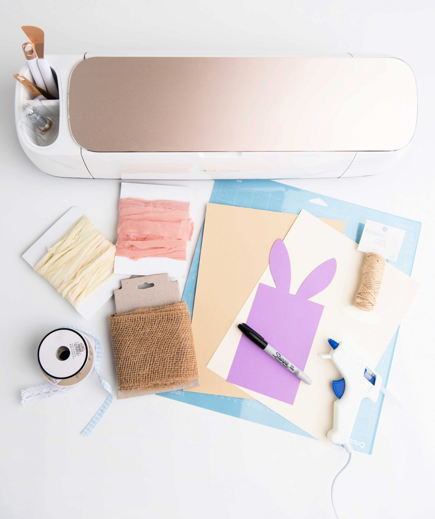 Cricut Maker, craft supplies for making DIY burlap utensil holders for spring or Easter table settings, bunny template...- Cricut Crafts Tutorial at DearCreatives.com