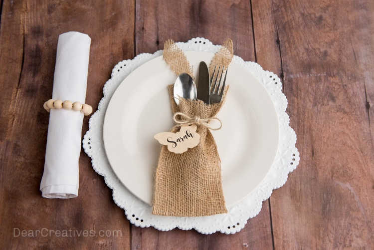 DIY Burlap Utensil Holder With Cut Out Butterfly Seating Tag - DearCreatives.com
