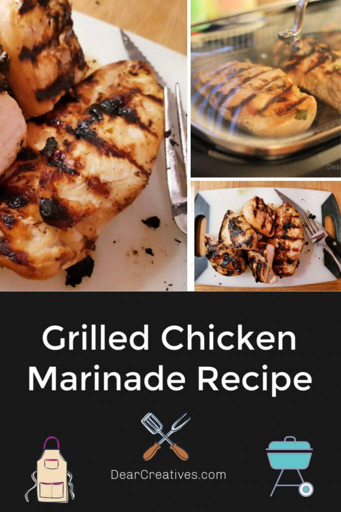 Grilled Chicken Marinade Recipe - This chicken marinade can be used for grilling, indoor grills, stove and oven. Slightly garlicky with a hint of sweetness and oh so good! Let me know how you liked it or changed it in comments, plus a photo. Happy Grilling! DearCreatives.com