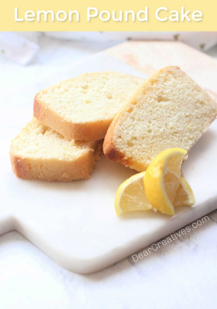 Lemon Pound Cake Recipe - Easy, delicious, moist lemon loaf made with or without glaze topping. Grab this lemon loaf recipe at © DearCreatives.com